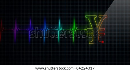 Colorful Horizontal Pulse Trace Heart Monitor with a Japanese Yen or Chinese Yuan symbol in line. - stock photo