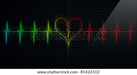 Colorful Horizontal Pulse Trace Heart Monitor with the symbol of a broken heart in line with the pulse. Concept for broken heart or heart attack or love loss.