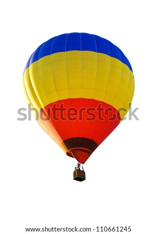 colorful hot air balloon against a white background - stock photo