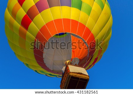 Colorful hot air balloon early in the morning in Hungary,Europe