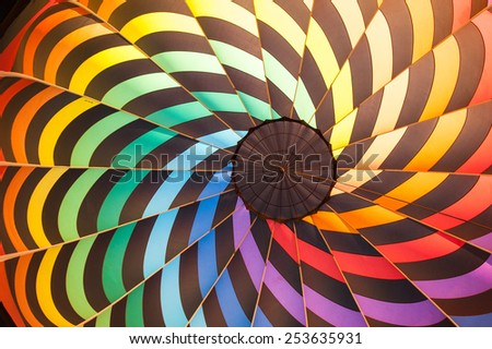 Colorful hot air balloon from the inside - stock photo