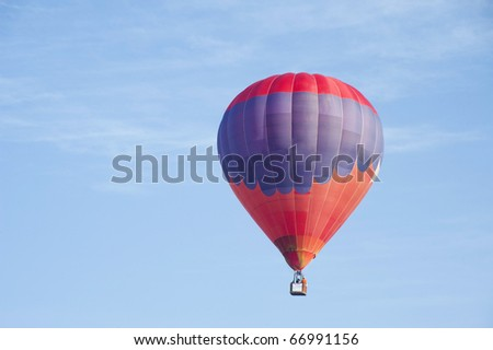 colorful hot air balloon in blue sky with sky ideal as copy space