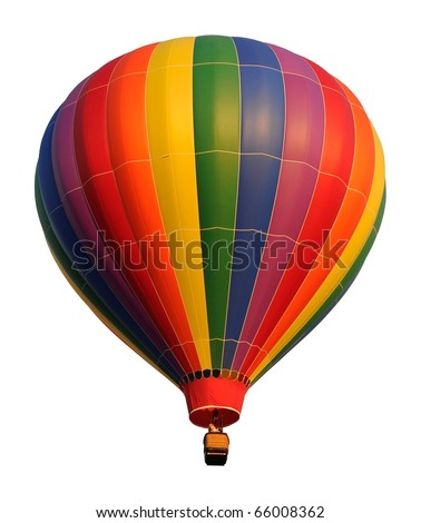 Colorful hot air balloon isolated on white - stock photo