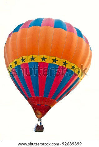 colorful hot air balloon isolated on white background - stock photo
