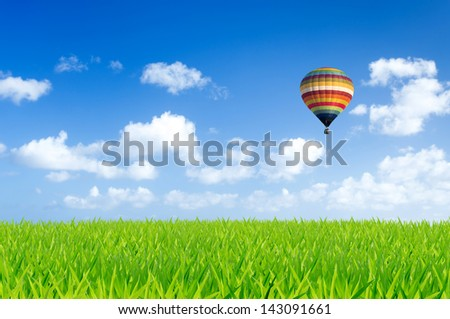 Colorful hot air balloon over green fields - stock photo
