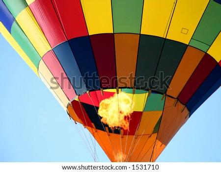 Colorful Hot Air Balloon Ride Closeup - stock photo