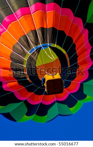 Colorful hot air balloon travelling to the sky - stock photo