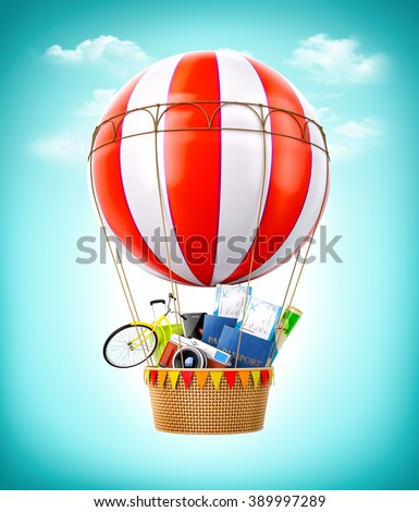 Colorful hot air balloon with passports, tickets, suitcase and bicycle inside a bascket. Unusual travel illustration