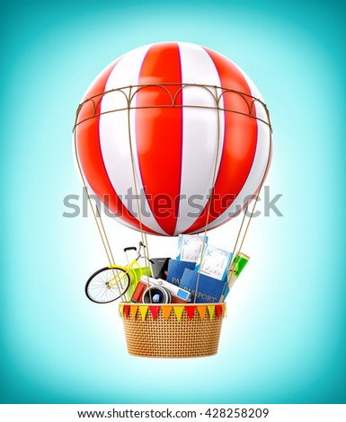 Colorful hot air balloon with passports, tickets, suitcase and bicycle inside a bascket. Unusual travel 3D illustration - stock photo