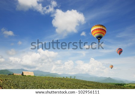 Colorful hot-air balloons flying over the agricultural farm - stock photo