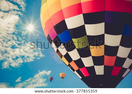 Colorful hot air balloons in the sky vintage color - stock photo