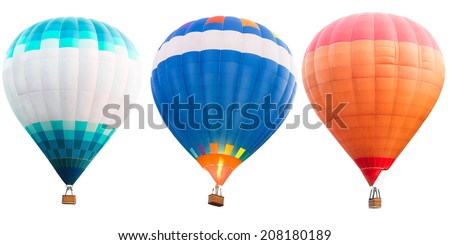 Colorful hot air balloons, Isolated over white - stock photo