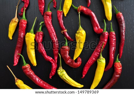 Colorful Hot Chili Peppers  - stock photo