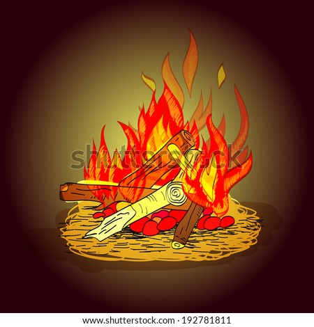 Colorful hot fiery camp fire with stack of wood and stones sketch print  illustration - stock photo