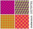 Colorful Houndstooth Patterns  in retro colors repeat seamlessly. - stock photo