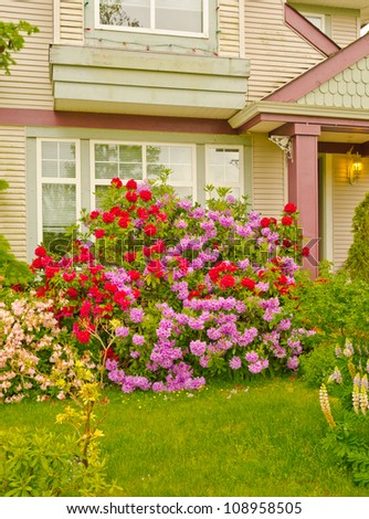 Colorful house entrance with a lot of flowers covering front side - stock photo