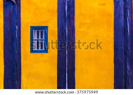 colorful house exterior, vintage windows in Malmo, Sweden - stock photo