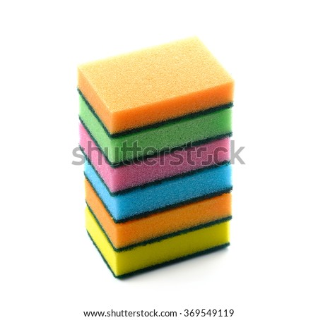 colorful household sponges for washing dishes, isolated on a white background - stock photo