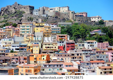 Colorful houses and a castle of Castelsardo town in Sardinia