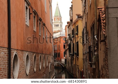 colorful houses and canal in Venice, Italy