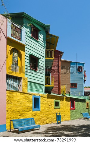 Colorful houses at Caminito street in La Boca, Buenos Aires - stock photo