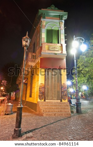 Colorful houses at night on Caminito street in La Boca, Buenos Aires - stock photo