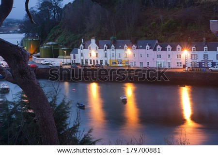 Colorful houses at Portree, Isle of Skye, Scotland at dawn - stock photo