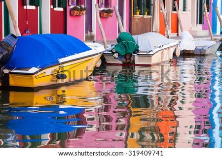Colorful houses Burano island, Venice, Italy - stock photo