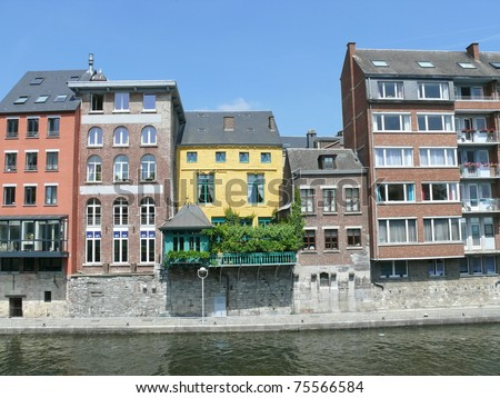 Colorful houses by the river. Namur. Belgium. Europe. More of this motif in my port - stock photo