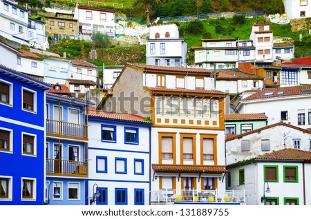 Colorful houses. Colorful windows and facades in Cudillero, Spain. Ancient facades