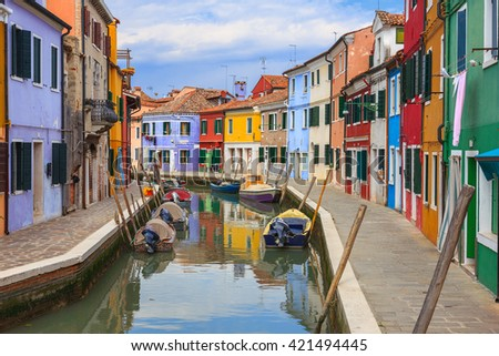 Colorful Houses in Burano island, Italy - stock photo