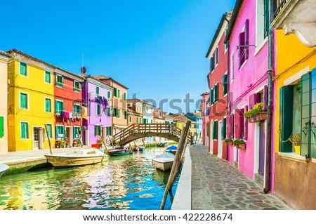 stock photo colorful houses in burano island near venice italy 422228674 - Каталог — Фотообои «Венеция»
