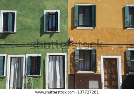 Colorful houses in Burano, Italy, near Venice