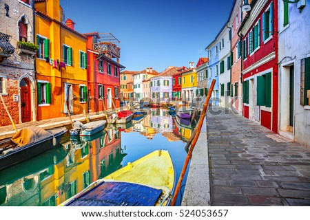 stock photo colorful houses in burano venice italy 524053657 - Каталог — Фотообои «Венеция»