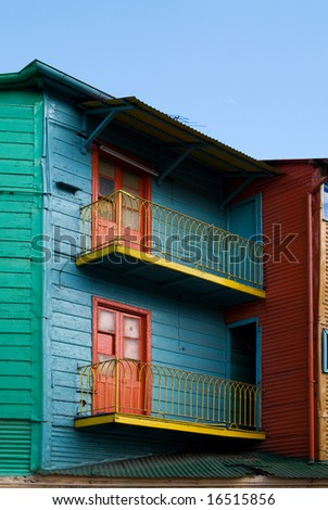 "Colorful Houses in ""Caminito"" - La Boca, Buenos Aires, Argentina - stock photo"
