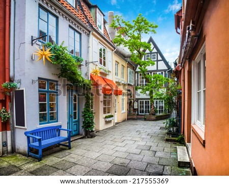 Colorful houses in historic Schnoorviertel in Bremen, Germany - stock photo