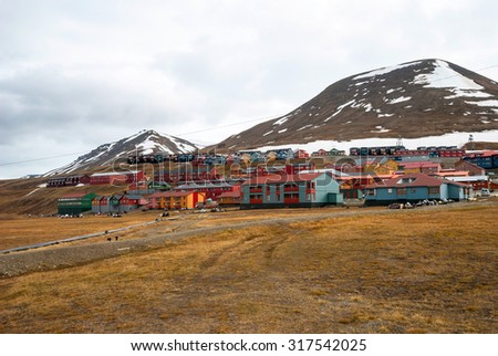 Colorful houses in Longyearbyen, Svalbard, Norway - stock photo