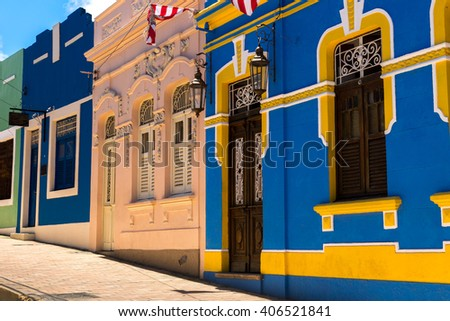 Colorful houses in Olinda, located in Pernambuco, Brazil