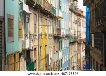 colorful houses in porto - stock photo