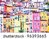 Colorful houses in Provence, painting art - stock photo