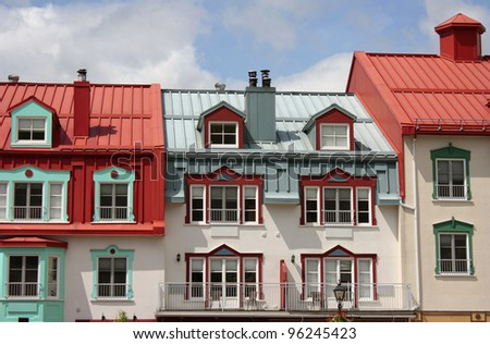 Colorful houses in resort Mont-Tremblant, Quebec, Canada - stock photo