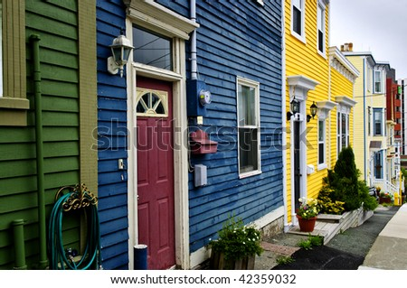 Colorful houses in St. John's, Newfoundland, Canada - stock photo