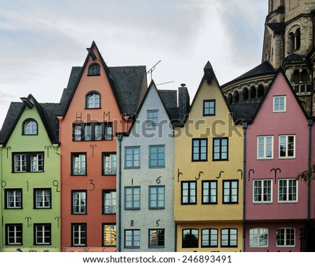 Colorful houses in the center of Cologne. Cologne, North Rhine-Westphalia, Germany - stock photo