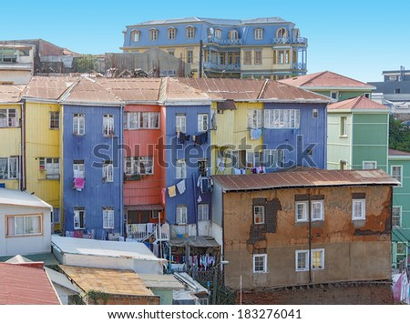 Colorful houses in Valparaiso, Chile - stock photo