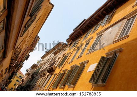 Colorful houses in Verona, Italy