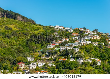 Colorful houses in Wellington, New Zealand. Wellington is the capital city and second most populous urban area of New Zealand, with 398,300 residents. - stock photo