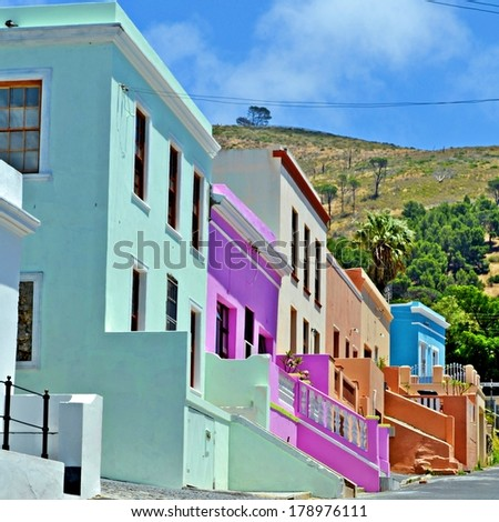 Colorful houses of Bo Kaap, Cape Town, South Africa - stock photo