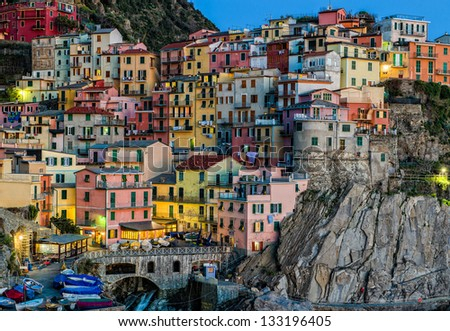 Colorful houses of Manarola Cinque Terre - Liguria Italy - stock photo