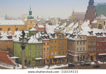 colorful houses of old town in winter, Warsaw, Poland - stock photo