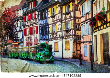 Colorful houses of romantic Colmar town, Alsace, France. Retro style